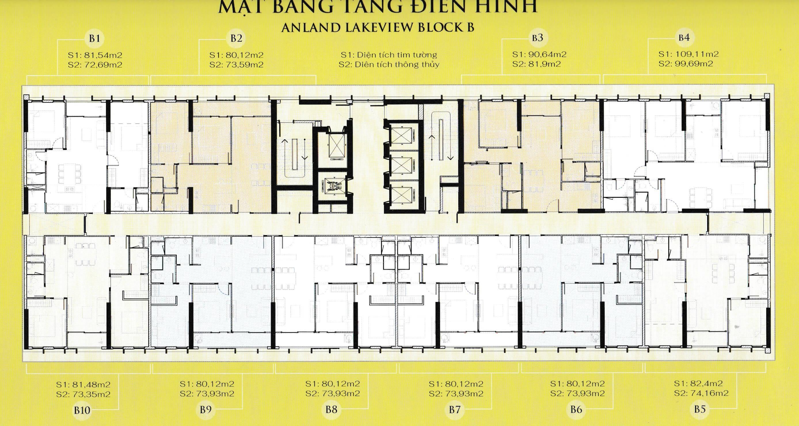 Mặt bằng điển hình Block B chung cư Anland Lake View Dương Nội